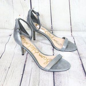 Sam Edelman Patti Ankle Strap Metallic Gray Sandal